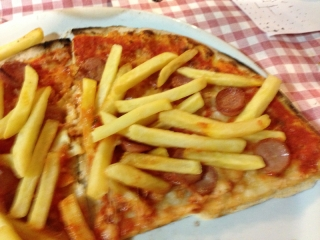 Pizza with French Fries